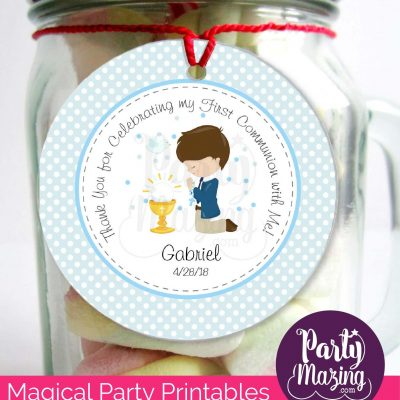 Editable Boy First Communion Tags   Thank You Stickers Labels   Party Favor Tag   stickers COM1   E126
