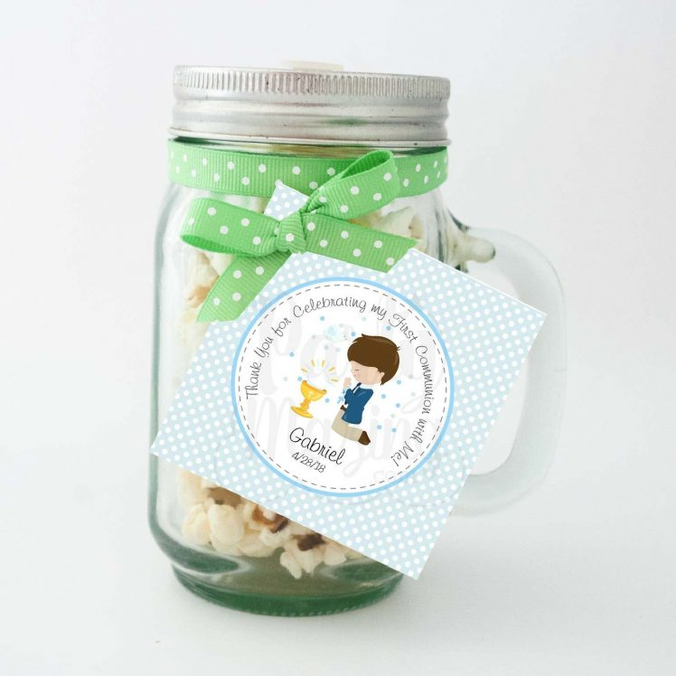 Editable Boy First Communion Tags | Thank You Stickers Labels | Party Favor Tag | stickers COM1 | E126