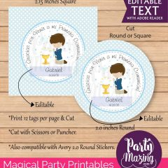 Editable Boy First Communion Thank You Stickers Labels or Party Favor Tags | E062
