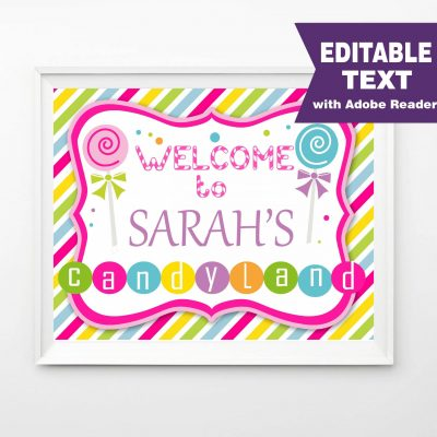 CandyLand Printable Welcome Party Sign | PK05 | E076