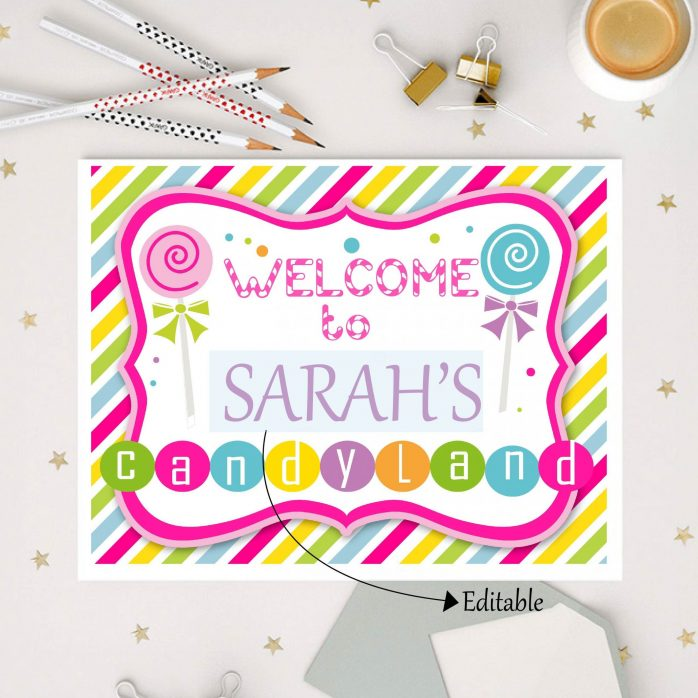 Editable CandyLand Party Sign | Welcome Sign | Candyland Birthday | CandyLand Sweet Shoppe Sign | Lollipop sign | HBCL1| E076