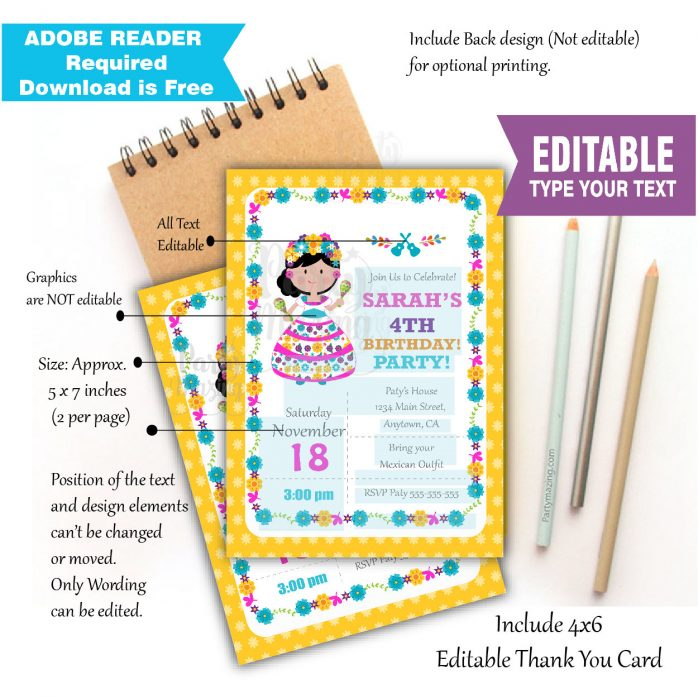 Editable COCO Mexican Girl Birthday Invitation, First Fiesta , Day of the Dead or Cinco de Mayo Traditional Mexican  Party | E059