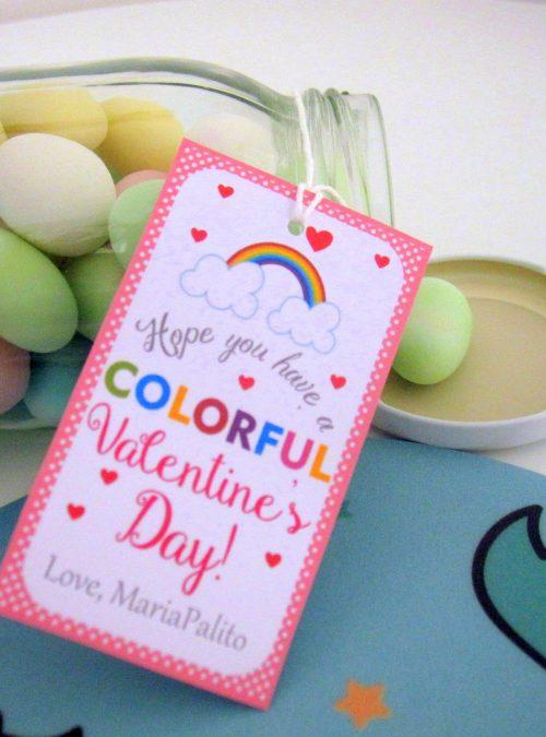 Editable Colorful Rainbow Valentine's Day Tag | Editable Rectangle Tag | E063