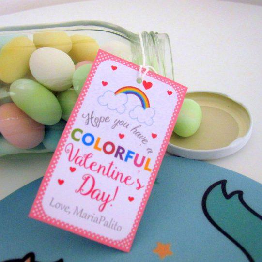 Editable Colorful Rainbow Valentine's Day Tag   Editable Rectangle Tag   E063