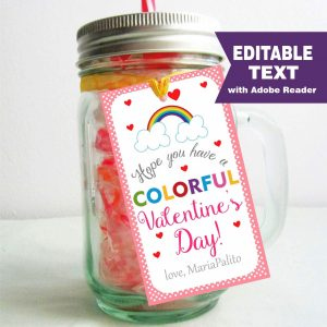 Editable Colorful Rainbow Valentine's Day Tag | Editable Rectangle Tag | E063