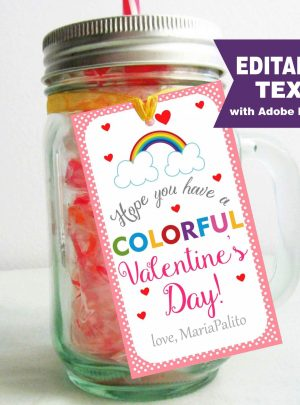 Rainbow Valentine's Day Printable Tag | E063