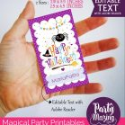 Editable Cute Little Spider Happy Halloween Tag for Baby or Kids | Editable Rectangle Tag | E211