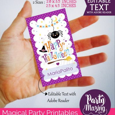 Printable Happy Halloween Tag, Editable Spider Halloween Tag  for Baby or Kids | Editable Rectangle Tag | E211