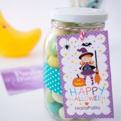Editable Printable Cute Little Witch Happy Halloween Treat Bag Tag | Editable Rectangle Tag |E202