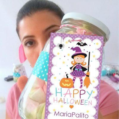 Editable Printable Cute Little Witch Happy Halloween Treat Bag Tag | Editable Rectangle Tag |E202