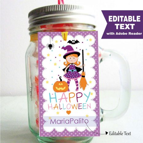 Editable Cute Little Witch Halloween Party Favor Tag |  Editable Rectangle Tag |E202