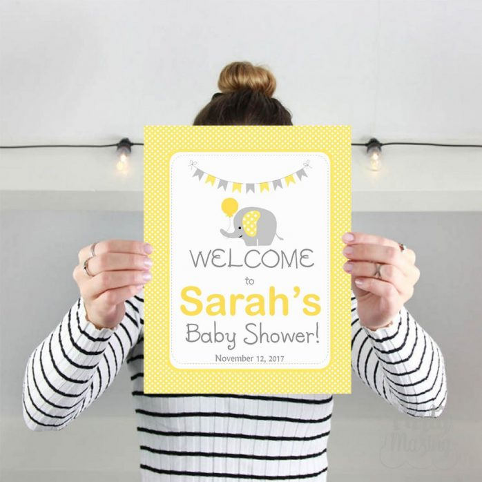 Editable Elephant Baby Shower Welcome Sign   Baby Shower Sign   Yellow and Grey Chevron Elephant Baby Shower   Sign   E071