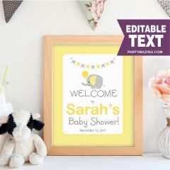 Editable Elephant Baby Shower Welcome Sign | Baby Shower Sign | Yellow and Grey Chevron Elephant Baby Shower | Sign | E071