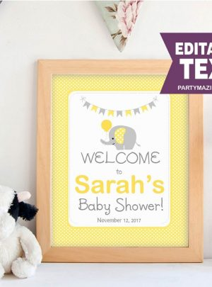 Yellow Elephant Baby Shower Printable Welcome Sign E071