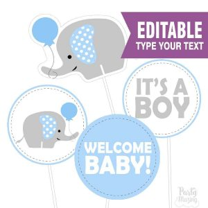 Editable Elephant Centerpiece | Baby Shower | Printable Centerpiece Diy | E142
