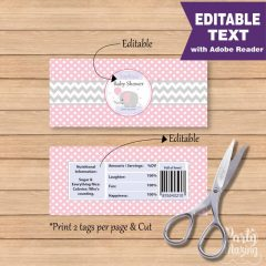 Editable Elephant Chocolate Bar Wrappers | Girl Pink and Grey Wrappers | DIY | labels | DIY |  | E169