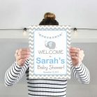 Editable Elephant Welcome Party sign | Boy Baby Shower | Grey Chevron Elephant | INSTANT DOWNLOAD  E067