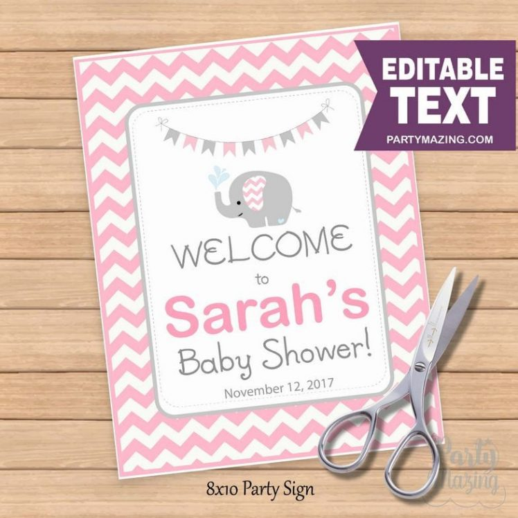 Editable Elephant WELCOME Party sign | Girl Baby Shower | Pink and Grey Chevron Elephant Sign BBEP2| E107