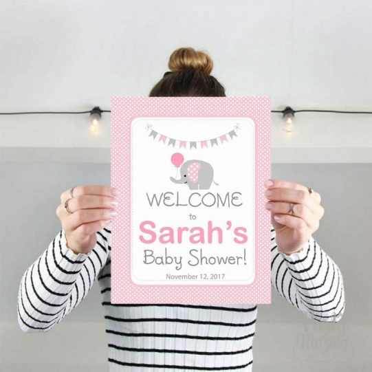 Editable Elephant WELCOME Party sign | Girl Baby Shower | Pink and Grey Chevron Sign  | E097