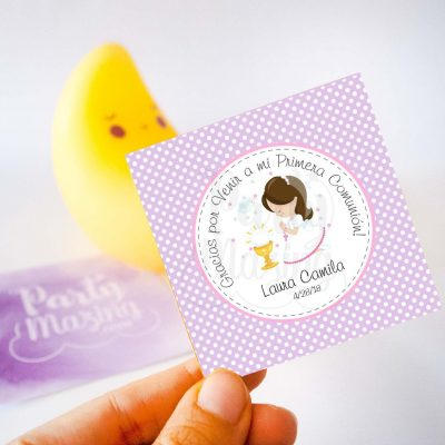 Editable Etiqueta Primera Comunion para Niña   Thank You Stickers Labels   Party Favor Tag   stickers COM1   E185