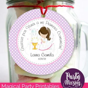 Editable Etiqueta Primera Comunion para Niña | Thank You Stickers Labels | Party Favor Tag | stickers COM1 | E185