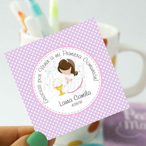 Editable Etiqueta Primera Comunion para Niña | Thank You Stickers Labels | Party Favor Tag | stickers COM1 | E185