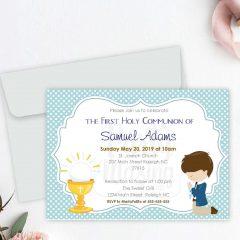 Editable First Communion Invitation | Printable Boy's Celebration Invite | Blue Boy Event Invite COM1 | E049