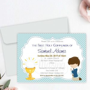 Editable First Communion Invitation | Printable Boy's Celebration Invite | Blue Boy Event Invite COM1 | E049