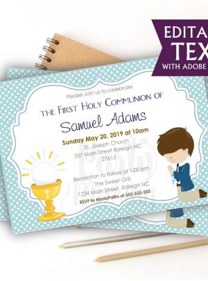 Boy First Communion Printable  Invitation E049