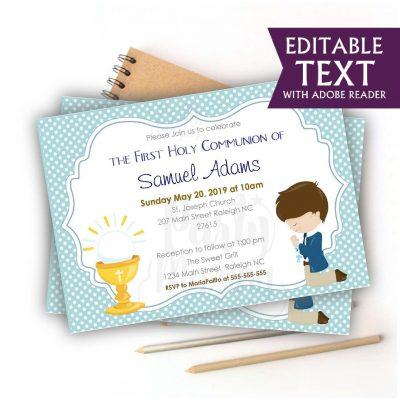 Editable First Communion Invitation   Printable Boy's Celebration Invite   Blue Boy Event Invite COM1   E049