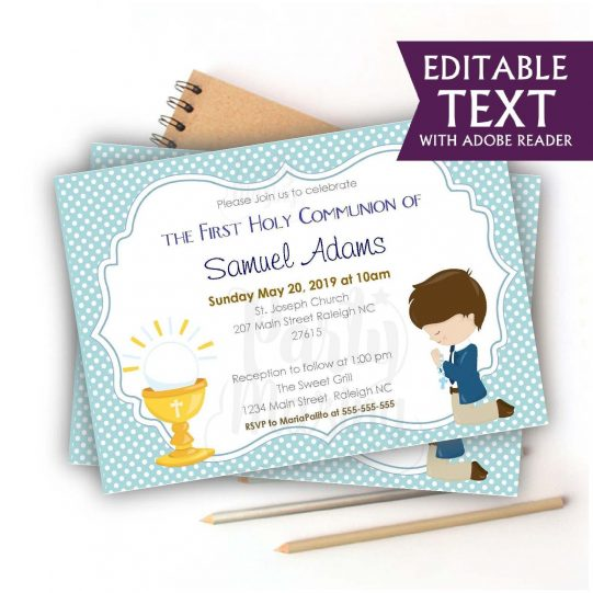 Editable First Communion Invitation | Printable Boy's Religou Celebration Invite | Blue Boy Event Invite COM1 | E049