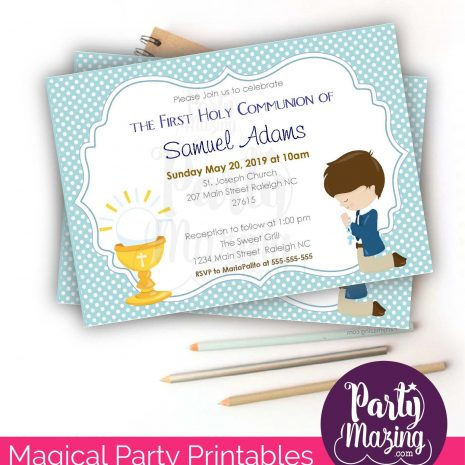 Editable First Communion Invitation | Printable Boy's Religou Celebration Invite | Blue Boy Event Invite COM1 | E049