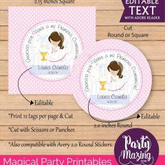 Editable Girl First Communion Printable Gift Tag | E101