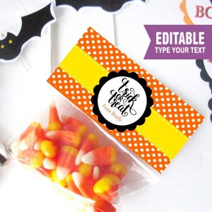 Editable Printable Halloween Trick or Treat Bag Topper, Custom Treat Bags, Party favor Bag Topper | E207