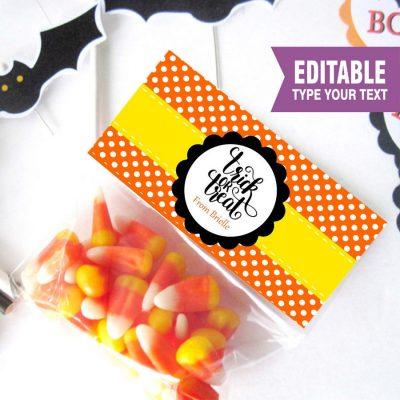 Editable Printable Halloween Trick or Treat Bag Topper, Custom Treat Bags, Party favor Bag Topper | E207