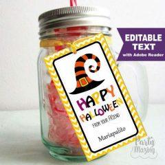 Editable Happy Halloween Printable Tags, Halloween Favor tag, Rectangle Tag   E291