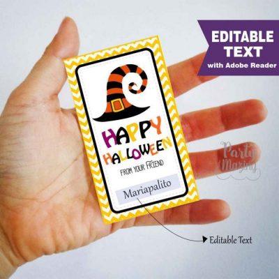 Editable Happy Halloween Printable Tags, Halloween Favor tag, Rectangle Tag | E291