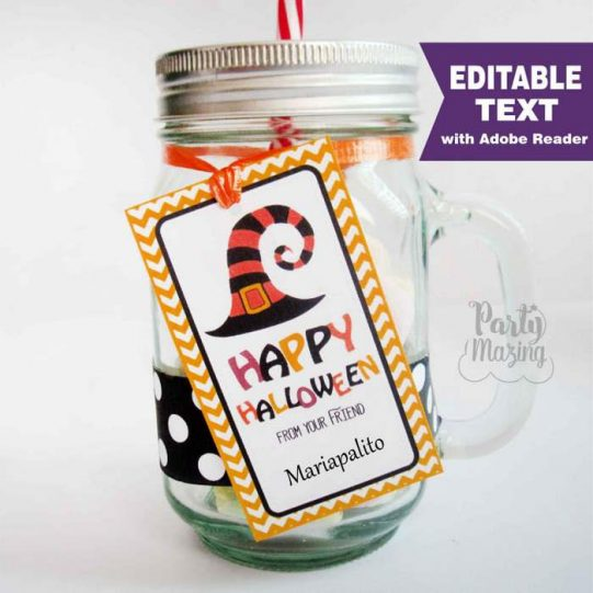 Editable Happy Halloween from your friend Tag    Editable Rectangle Tag   E291