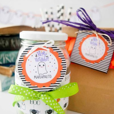 Editable Happy Halloween Gift Tag | Little Ghost Favor Tag| E206