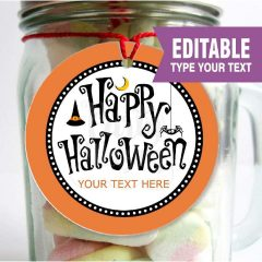 Editable Printable Happy Halloween printable Labels, Gift Party Favor Tags for your Halloween Candy | E201