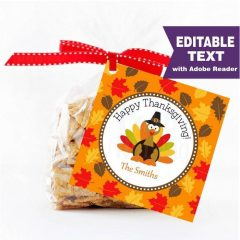 Editable Happy Thanksgiving Favor Tag with a cute Turkey for your Family | E282