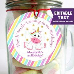 Editable Magical Unicorn Birthday Party Favor Tag | E316