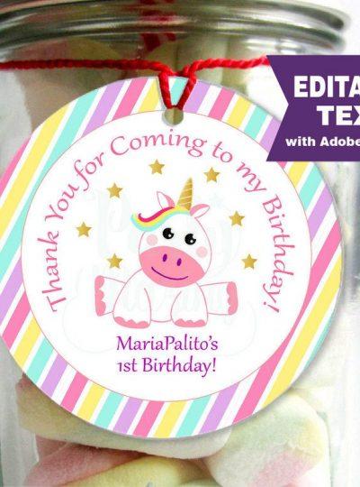 Unicorn Printable Birthday Party Favor Tag | E316