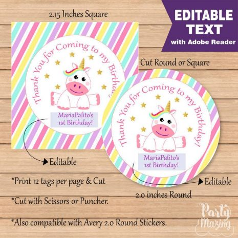 Editable Magical Unicorn Birthday Party Favor Tag | E316