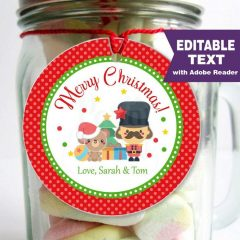 Editable Merry Christmas Nutcracker Christmas Favor Gift Tag | E313