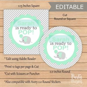 Editable Mint She is ready to pop Tag for  Baby Shower Party Favor Stickers | E275