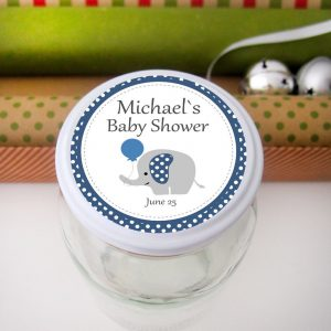 Editable Navy Blue Elephant Tags, Stickers or Party Favor Tags for your Boy Baby Shower | E118