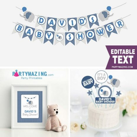 Editable Navy Elephant Baby Shower Full Party Package Set with an Elephant with Balloon   E014