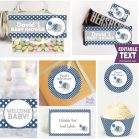 Editable Navy Elephant Baby Shower Full Party Package Set with an Elephant with Balloon | E014