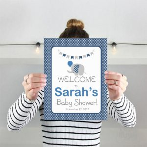 Editable Navy Elephant Welcome Party sign | E328